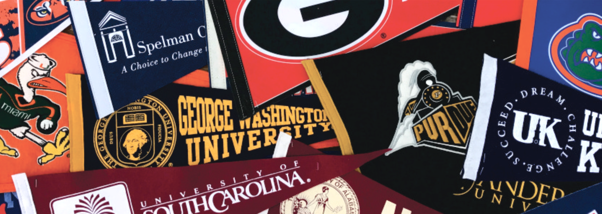 college pennant collage