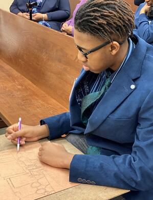 court reporter drawing mock trial
