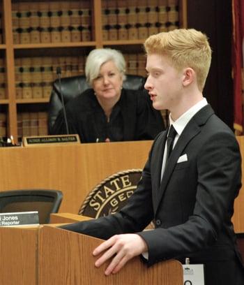 student making arguments mock trial